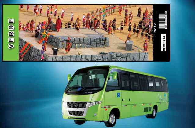 Inti Raymi 2020 ticket. Green section + tour bus