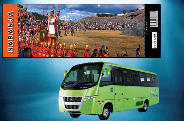 Biglietto Inti Raymi 2020. Sezione arancione + bus turistico