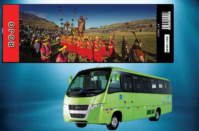 Billet Inti Raymi 2020. Section rouge + bus de tournée